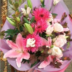 ユリとガーベラの花束(ピンク)