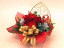 クリスマスアレンジ (ハートのワイヤーボックス)