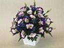 パステル紫のトルコキキョウとリンドウの御供アレンジ