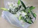 カサブランカと白いトルコキキョウの御供え花束