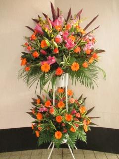 オレンジ系の御祝スタンド花 2段 (S12007)