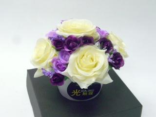 光触媒造花アレンジメント≪白紫入り≫