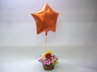 オレンジ星型バルーン≪色MIXのアレンジメント≫