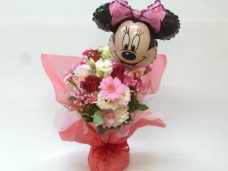 ミニーちゃんの花瓶の要らない花束ブケットです。