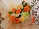 ガーベラ&ミニバラオレンジ系の花束
