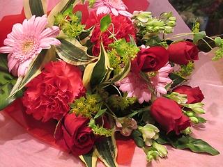☆赤バラとピンクの花束