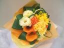 黄色、オレンジ系華やか花束
