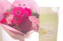 お母さんも超小喜びピンクレッド花束withケーキ