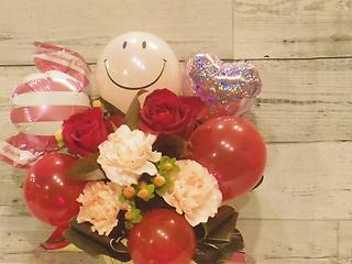 Smileバルーンのアレンジメント♪ピンクレッド系