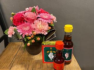まんまるピンク系アレンジと横浜グルメセット♪