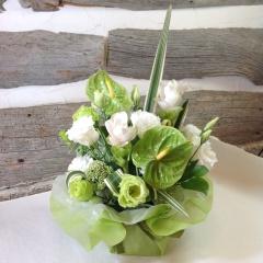 <生花>白グリーンのシンプルなお供えアレンジメント