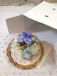 【プリザのケーキ】プリンセス ハワイアンブルー