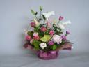 【生花】ピンクユリのワンサイドアレンジメント