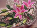 ピンクの大輪ユリの花束