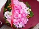 10本バラのブーケ ピンク系