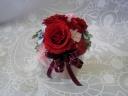深紅のバラとリボンのプリザーブド