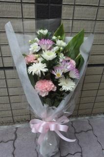 御供え ホワイト+淡ピンク花束