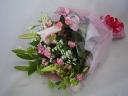 ピンク小花とユリの花束♪