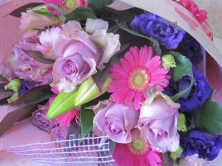 ピンク×パープルの花束♪