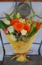 オレンジガーベラの元気な花束