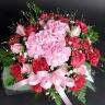【母の日】ピンクと赤のまんまるアレンジメント