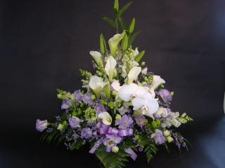 お供えアレンジメント ≪胡蝶蘭と紫のイメージで≫
