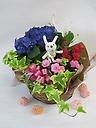 【母の日期間限定】ウサギとアジサイの寄せ鉢ギフト