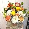 バラとカーネーションのアレンジ イエローオレンジ系