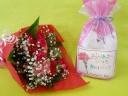 カーネーションの花束と新潟県産コシヒカリのセット