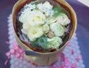 ホワイト&ベージュの花束