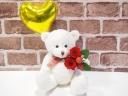 ベアプリザ☆ゴールドハートバルーン赤バラ☆ホワイト