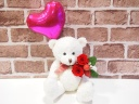 ベアプリザ☆ピンクハートバルーン赤バラ☆ホワイト