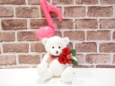 ベアプリザ☆ピンク音符バルーン赤バラ☆ホワイト