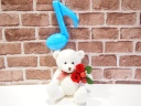 ベアプリザ☆ブルー音符バルーン赤バラ☆ホワイト