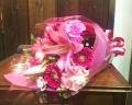 【御祝・お誕生日・発表会】ユリとガーベラの花束