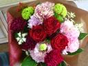 赤バラとカーネーションの花束  T-011