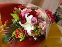 レッドピンクはなやか♪花束