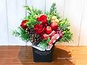 【クリスマス】真っ赤な薔薇とリンゴのアレンジ