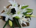 大輪の白百合の花束