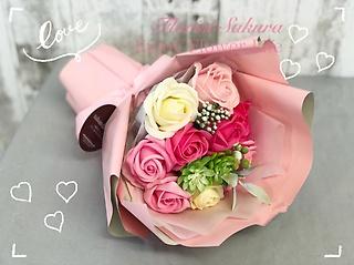 pink バラのブーケ*ソープフラワー