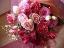 ピンクレッドクラシック系の花束「ソレイユ」