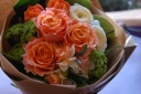 春のラウンドブーケ(オレンジ系)