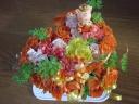 ハート型のフラワーケーキ(オレンジ)