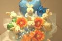 うさぎ&バルーンアレンジ ブルー