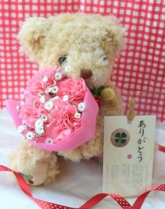 母の日ピンク★プレゼントベア&四つ葉のクローバー