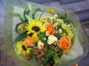 ひまわりと☆オレンジのバラの花束