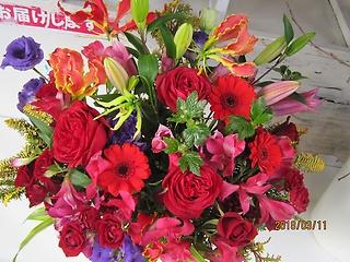生花アレンジ☆赤い花