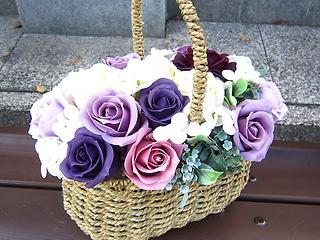 ばらの花籠 パープル(シャボンフラワ-)