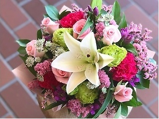 【お誕生日・お祝い】アレンジメント   ピンク濃淡