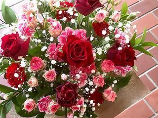 【お祝い】アレンジメント S  レッド×ピンク